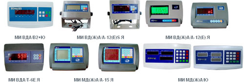 типы подключаемых индикаторов, дисплеев для весов гулливер 2